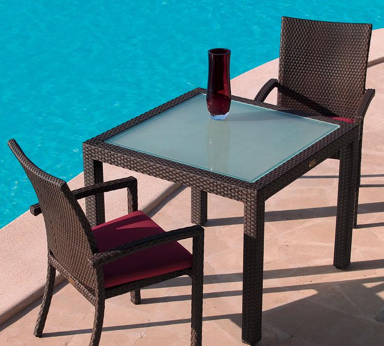 mbm tisch bellini 90x90cm mocca alu polyrattan gartenm bel glas tischplatte art. Black Bedroom Furniture Sets. Home Design Ideas