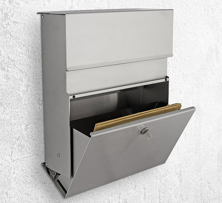 heibi briefkasten calmo 64398 072 edelstahl postkasten. Black Bedroom Furniture Sets. Home Design Ideas