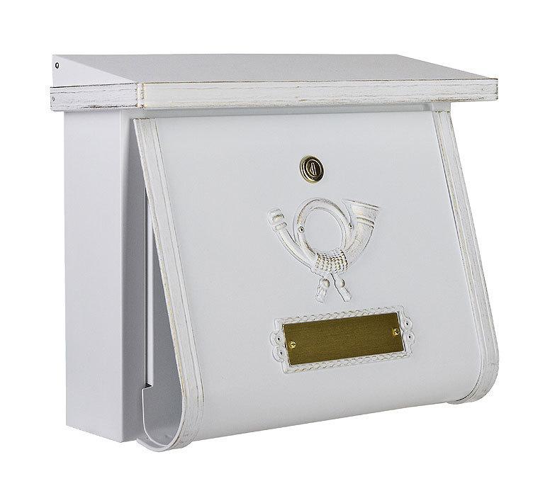 heibi briefkasten multi 64104 008 wei postkasten stahl verzinkt mit zeitungsfach art jardin. Black Bedroom Furniture Sets. Home Design Ideas
