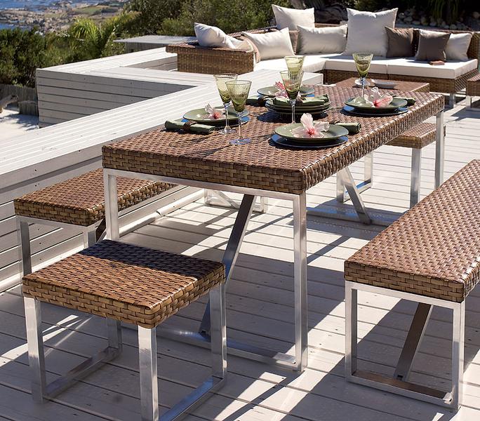 mbm hocker beistelltisch madrigal polyrattan artjardin. Black Bedroom Furniture Sets. Home Design Ideas
