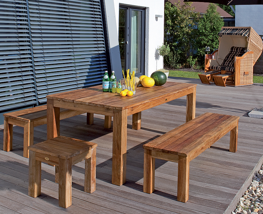 Sonnenpartner teak tisch 160x90cm charleston 80050710 art for Gartentisch teakholz