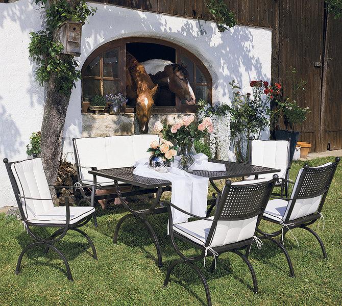 Gartenmöbel Im Landhausstil mbm 2 sitze bank romeo 156125 marone eisen gartenmöbel artjardin