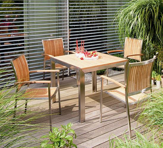 Terrassenmöbel teakholz  Sonnenpartner Tisch 90cm Lord 80071261 Edelstahl Teak- Art Jardin