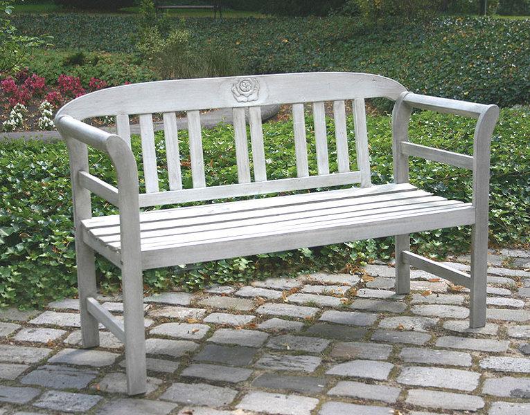 Gartenbank weiß 2 sitzer  Gartenbank Rose 2Sitzer Akazie antikweiß Holz Sitzbank- ArtJardin