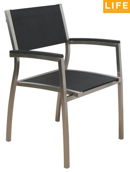 Gartenstühle alu schwarz  Stern Edelstahl Stapel Sessel Vision 417435 Teak+Text- Art Jardin