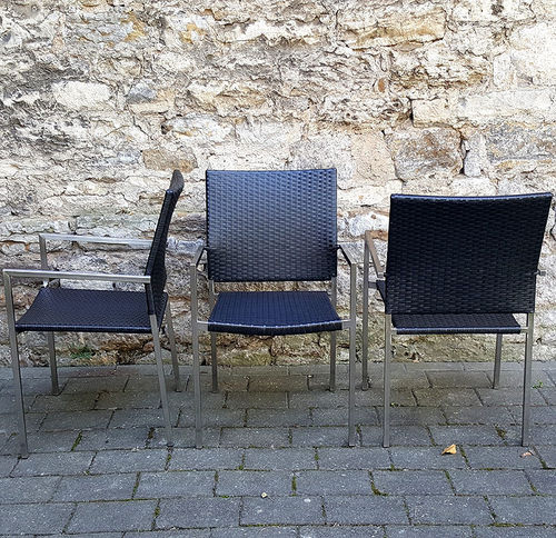 Edelstahl Stapel Sessel London 309960 Polyrattan nero