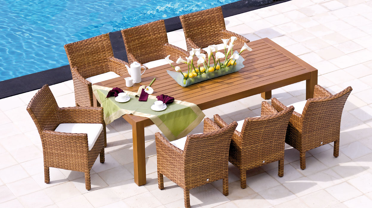 Mbm sessel madrigal tobacco polyrattan art jardin for Terrassenmobel polyrattan