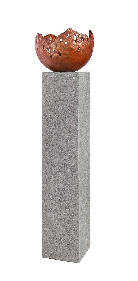 rottenecker feuerschale fire klein bronze rot 22008 garten feuerstelle 27cm oh steinsockel u. Black Bedroom Furniture Sets. Home Design Ideas