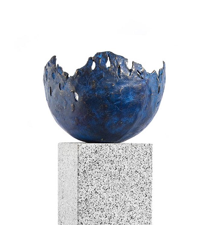 rottenecker feuerschale fire klein bronze blau 22009 garten feuerstelle 27cm oh steinfuss u. Black Bedroom Furniture Sets. Home Design Ideas