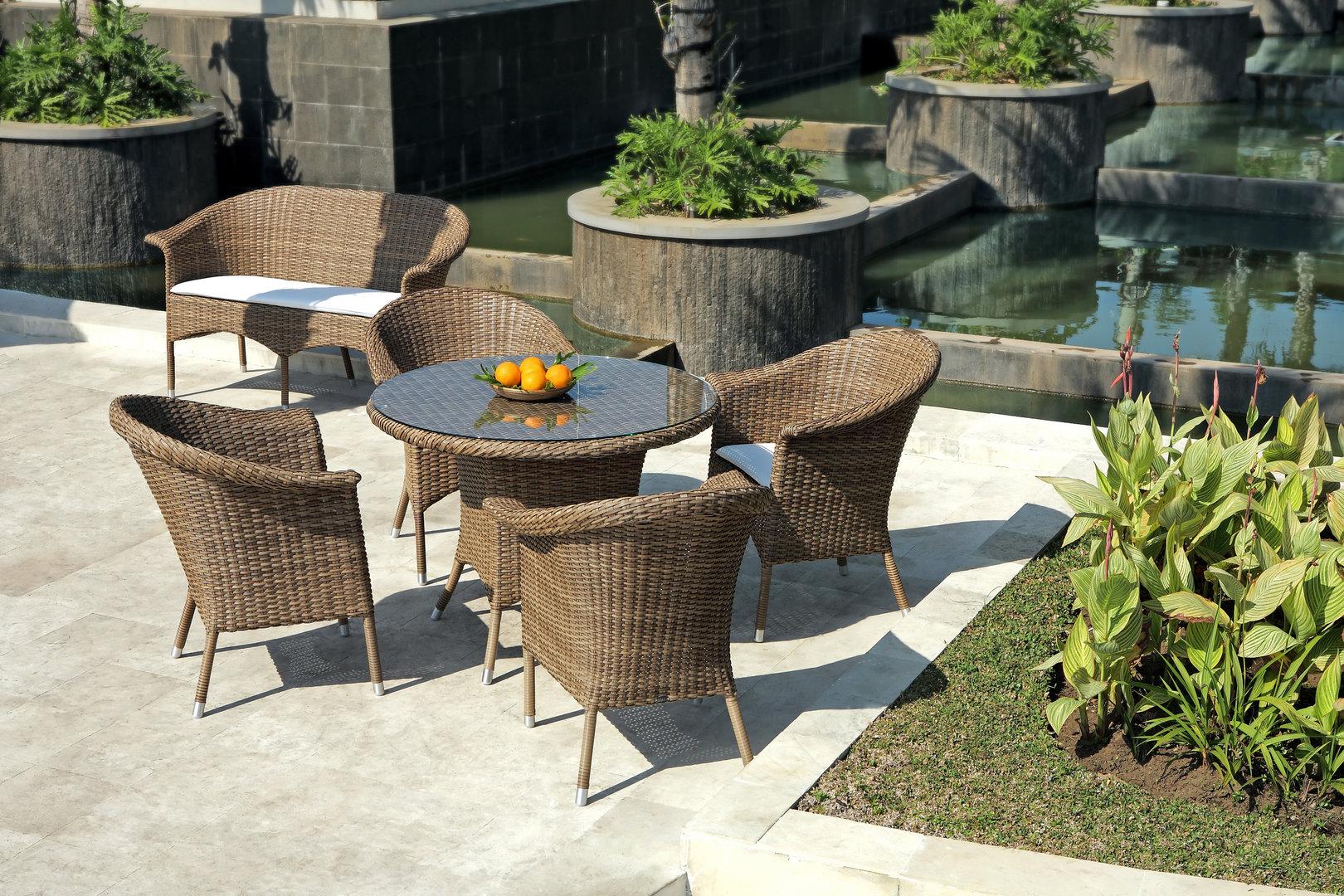 zebra tisch rund hastings esstisch alu polyrattan glas artjardin. Black Bedroom Furniture Sets. Home Design Ideas
