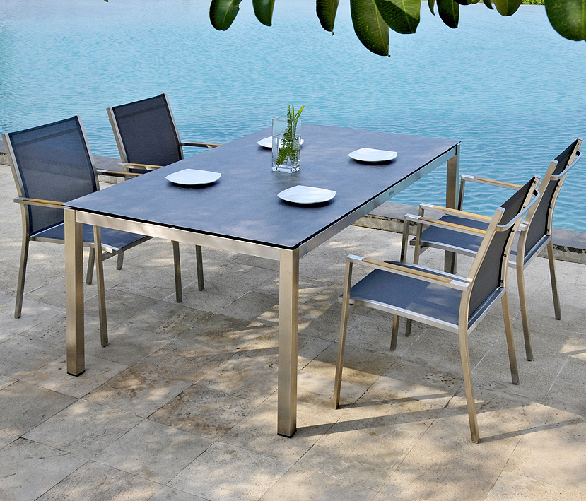zebra ess tisch gestell 180x100cm opus 6560 edelstahl art jardin. Black Bedroom Furniture Sets. Home Design Ideas