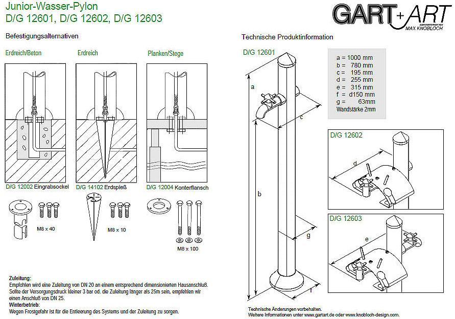 Gart art eingrabsockel d g12002 f r wasserzapfs ulen art for Art jardin ochsenfurt