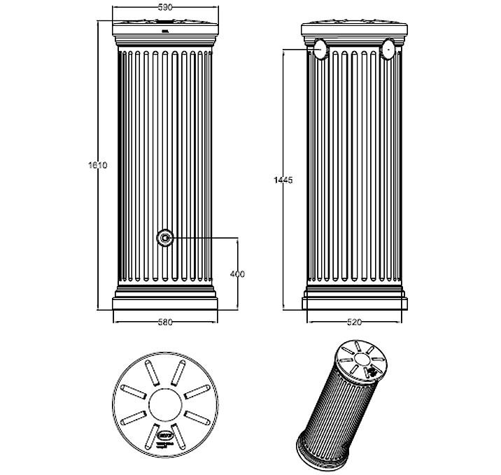 graf regenwasser s ulentank 330l steingrau 326531 regentonne ohne zubeh r zapfhahn u f ll. Black Bedroom Furniture Sets. Home Design Ideas