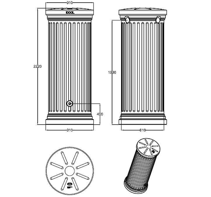 graf regenwasser s ulentank 1000l sandbeige steingrau art jardin. Black Bedroom Furniture Sets. Home Design Ideas