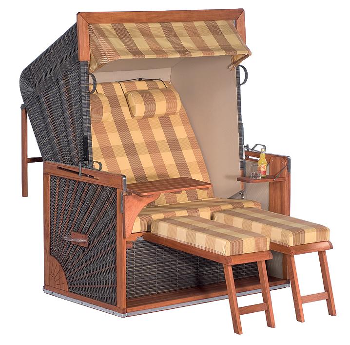 sonnenpartner exclusiv strandkorb admiral mahagoni xl art jardin. Black Bedroom Furniture Sets. Home Design Ideas