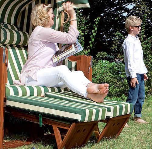 Gartenmobel Auflagen Outlet : Sonnenpartner Premium Strandkorb Präsident Alu Basic 2Sitzer