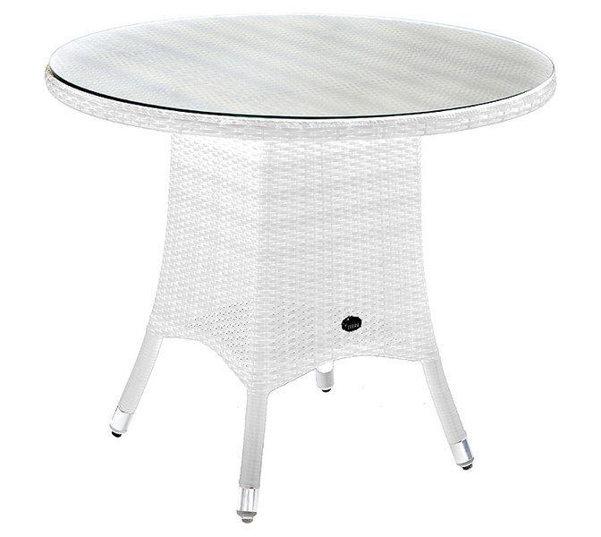 Gartentisch rund weiß  Zebra Tisch 90cm rund Mary 5442 Esstisch Alu + Glas Tischplatte + ...