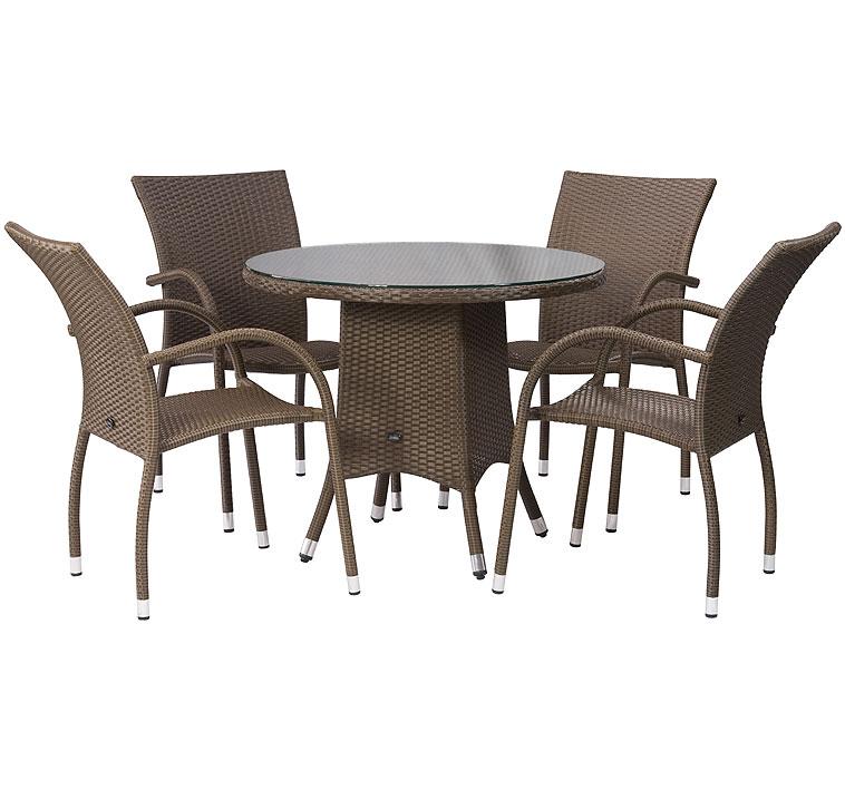 zebra tisch 110 rund mary esstisch polyrattan in2farb art jardin. Black Bedroom Furniture Sets. Home Design Ideas