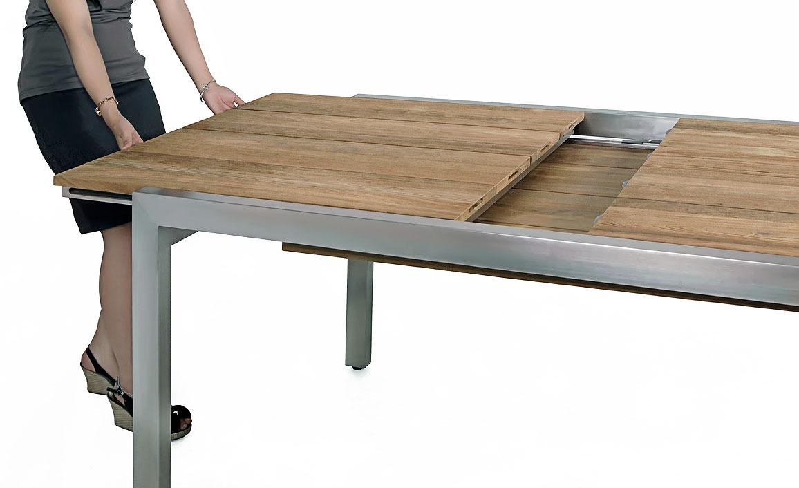 Gartentisch holz zum ausziehen for Gartentisch edelstahl teak