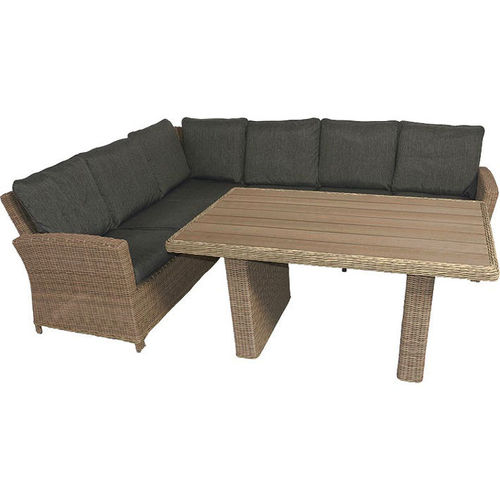 Lesli Living 4tlgSet Lounge Wine & Dine Alu+Polyrattan =Sofa+Polster+Ess+Couch- Tisch Jubiläums%Sale