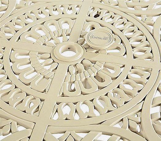 Gartenmoebel Fur Kinder :  120cm rund Amalfi stracciatella weiß Tisch Aluminium Guß Gartentisch