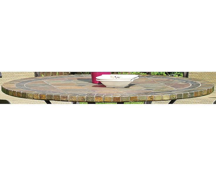 hartman esstisch 120 rund palermo schiefer mosaik alu art jardin. Black Bedroom Furniture Sets. Home Design Ideas