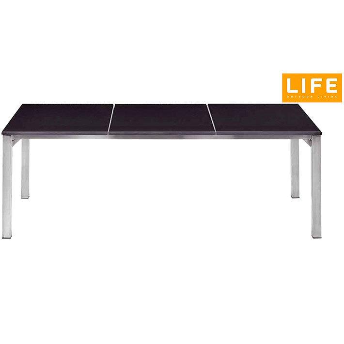 Life Edelstahl Esstisch 210x90cm Phay 1833068-33 Tisch Platte 3-tlg  Naturstein Granit black polished