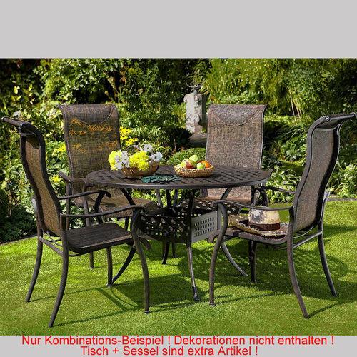 Hartman 5tlgset gartenmöbel palermo aluguß bronze u003d esstisch 120rund 4 stapelsessel textile kupfer