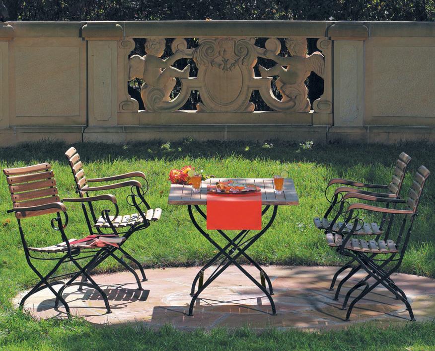 sonnenpartner tisch 120x80 oxford teak eisen klappbar art jardin. Black Bedroom Furniture Sets. Home Design Ideas