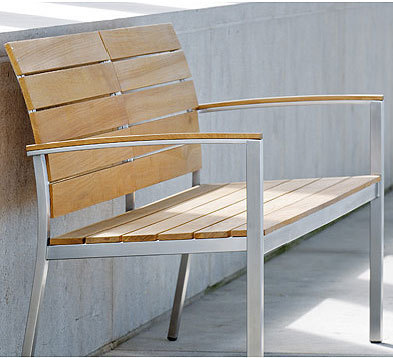 Gartenbank teak design  Stern Edelstahl 2-Sitzer Teak Bank Savona 417428 Teakholz ...