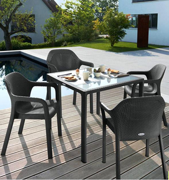lechuza design essgruppe 5er set cottage glasplatte art jardin. Black Bedroom Furniture Sets. Home Design Ideas