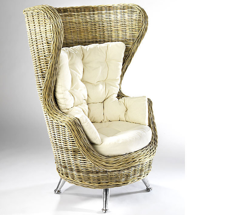 Home Ohren Sessel King Chair 20084-23 Rattan + Kissen- Art Jardin