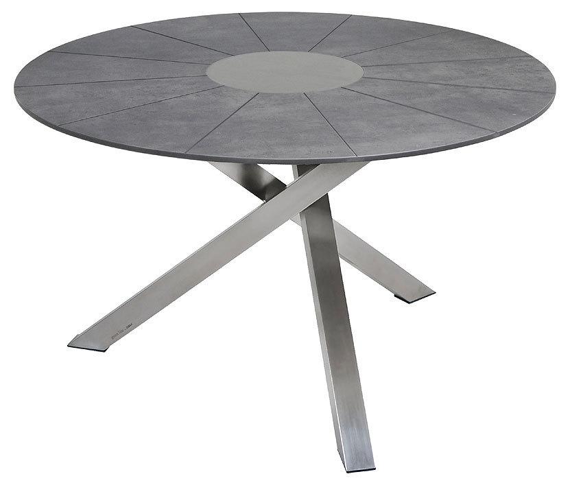 zebra tisch rund 135cm oryx sela beton 7600 edelstahl art jardin. Black Bedroom Furniture Sets. Home Design Ideas