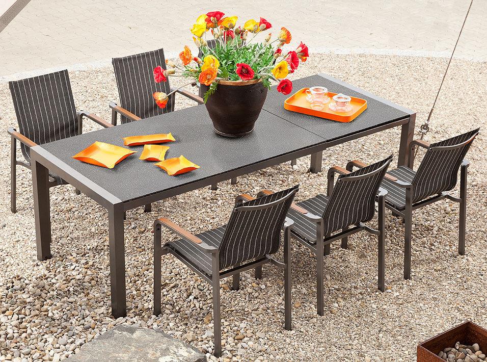 mbm kennedy 7erset alu sessel auszugtisch 160 230x90 artjardin. Black Bedroom Furniture Sets. Home Design Ideas