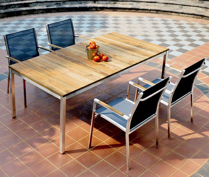 zebra tisch naxos 160x90cm 7209 7261 design esstisch edelstahl recyceltes teak holz. Black Bedroom Furniture Sets. Home Design Ideas