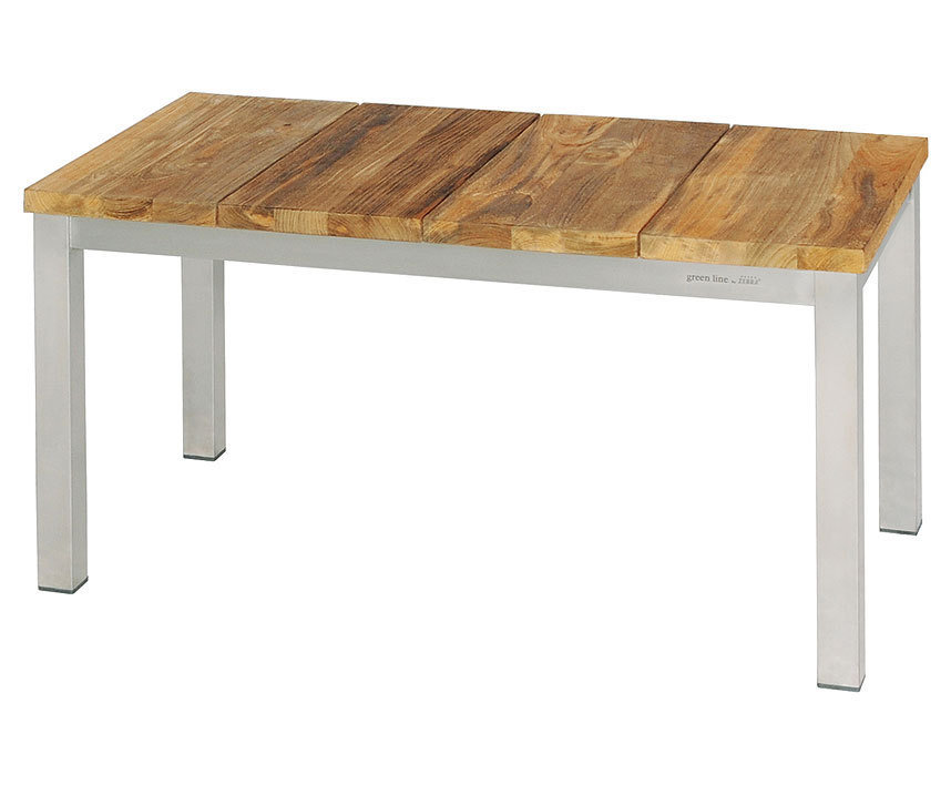 Zebra 2-Sitzer Bank Naxos 85cm 7224 Edelstahl + recyceltes Teak Holz Design  Sitzbank oh. Rückenlehne