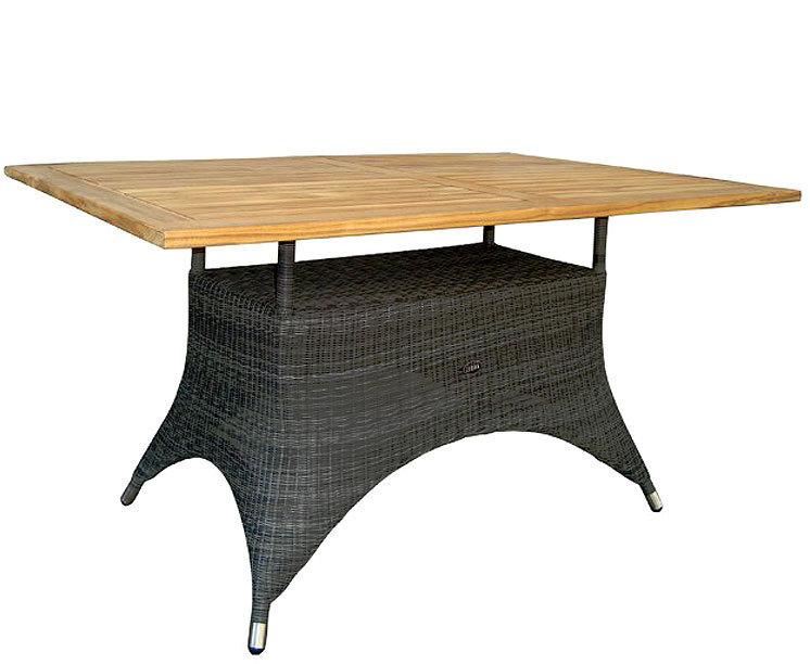 Zebra Tisch 140x90cm Status 23086 Alu +Teak Tischplatte + Polyrattan  Grey Black Gartenmöbel Esstisch ...