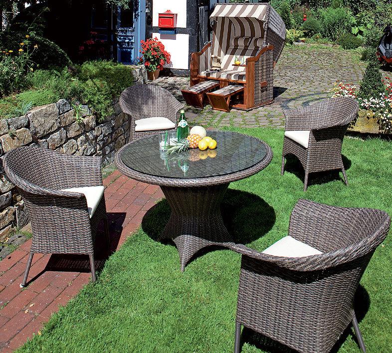 sonnenpartner tisch rund 90cm bonaire 80080076 esstisch alumini polyrattan cappuccino. Black Bedroom Furniture Sets. Home Design Ideas