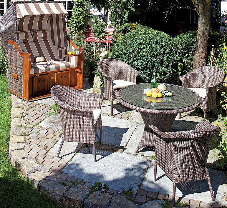 sonnenpartner tisch rund 90cm bonaire 80080076 esstisch alumini polyrattan cappuccino. Black Bedroom Furniture Sets. Home Design Ideas