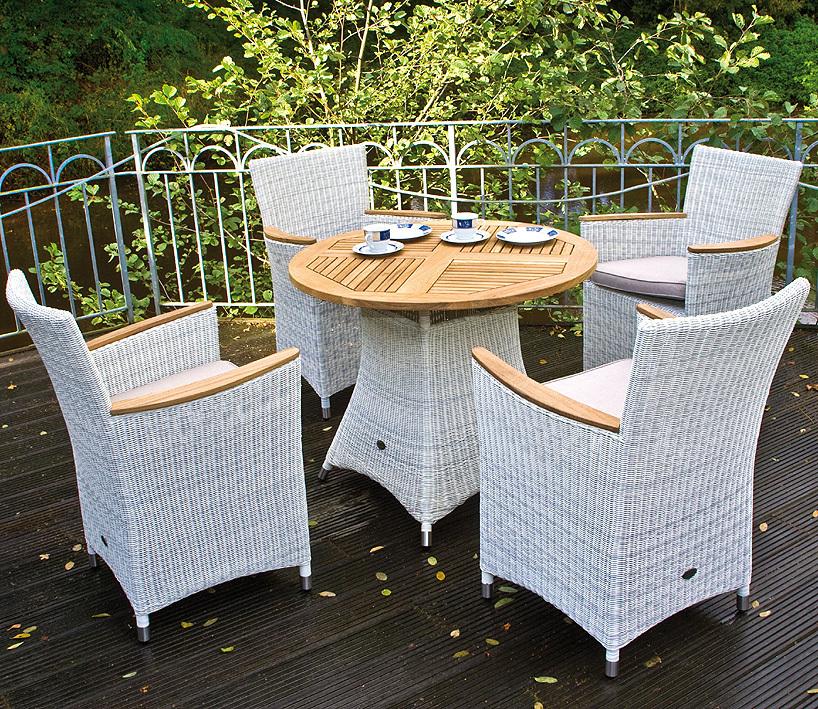 zebra polyrattan teak sessel tisch gruppe loomus 5tlg art jardin. Black Bedroom Furniture Sets. Home Design Ideas