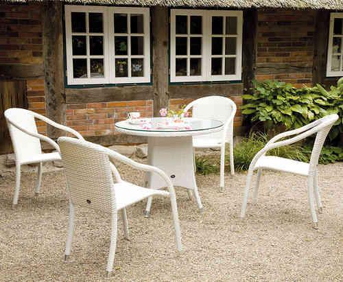 Gartenmobel Auflagen Outlet : Zebra Garnitur 5tlg Polyrattan snowwhite 4 Stapelsessel Vienna 5179