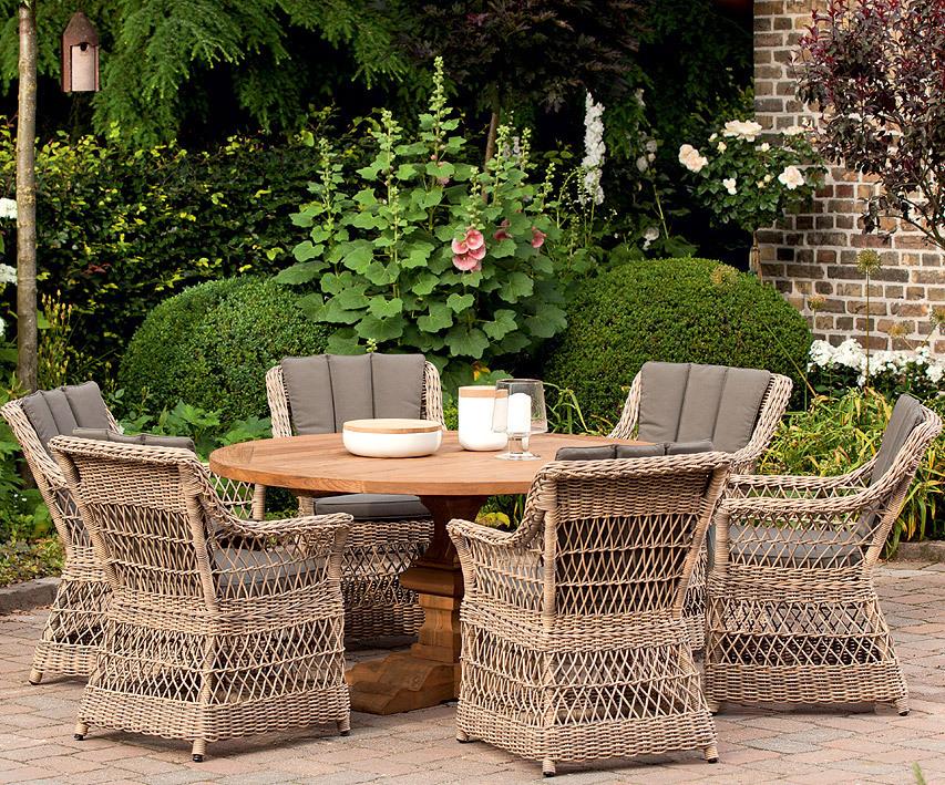 ... Queen´s Garden Old Teak Tisch Rund 150cm Castello 205.659 Esstisch  Antik Finish ...