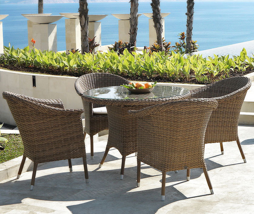 zebra polyrattan essplatz gruppe hastings walnut 5tlg art jardin. Black Bedroom Furniture Sets. Home Design Ideas