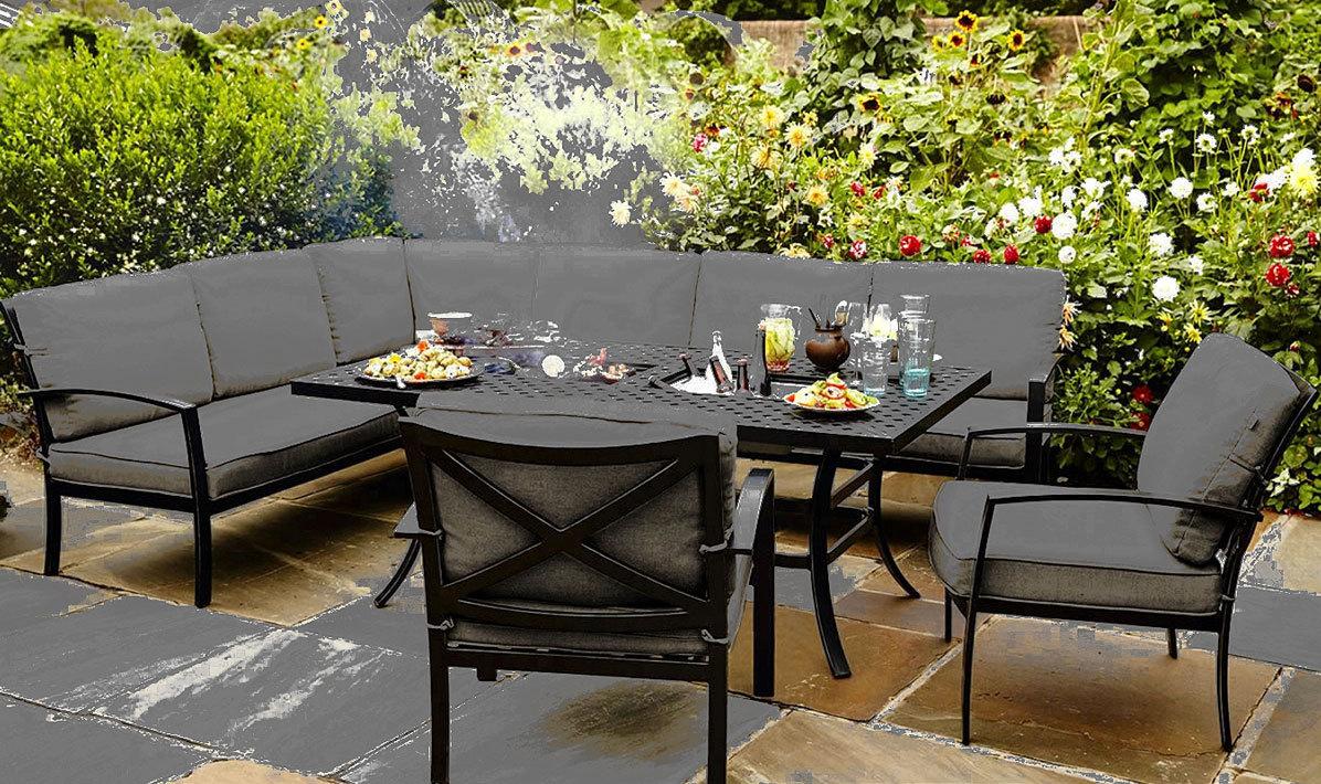 Hartman 3tlg eckbank sofa jamie oliver gartenbank alu art for Table de terrasse aluminium