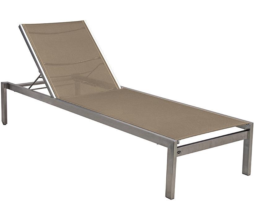 Zebra Edelstahl Gartenliege Pontiac 3560 Liege Textilene espresso  Sonnenliege rollbar + stapelbar