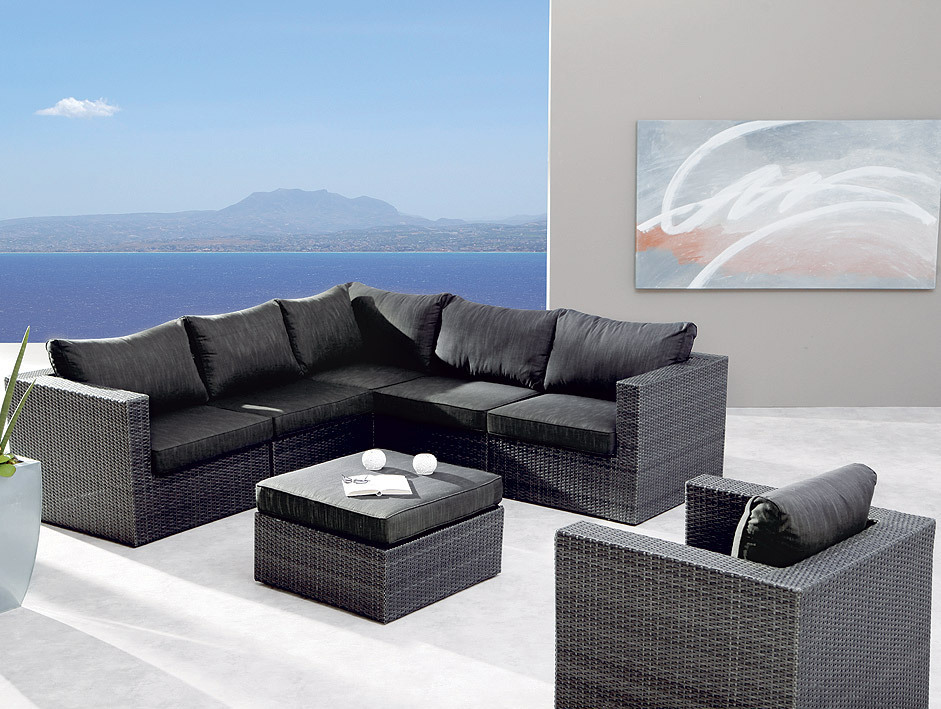 best 7 tlg lounge set aruba alu polyrattan 98897053 art jardin. Black Bedroom Furniture Sets. Home Design Ideas