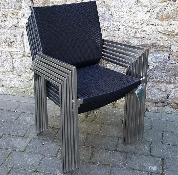 7tlg edelstahl sessel esstisch garnitur salem 800448 artjardin. Black Bedroom Furniture Sets. Home Design Ideas
