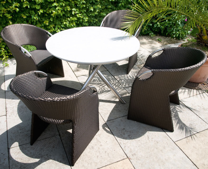 zebra 5tlg garnitur mikado wave edelstahl polyrattan artjardin. Black Bedroom Furniture Sets. Home Design Ideas