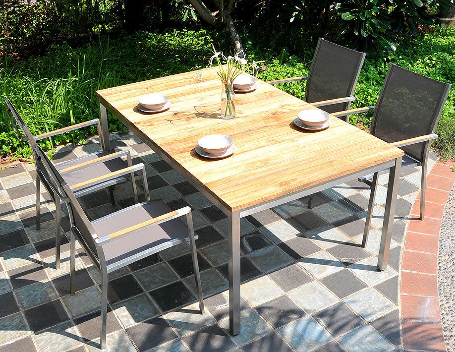 zebra stapel sessel one 6199 edelstahl teak batyline artjardin. Black Bedroom Furniture Sets. Home Design Ideas