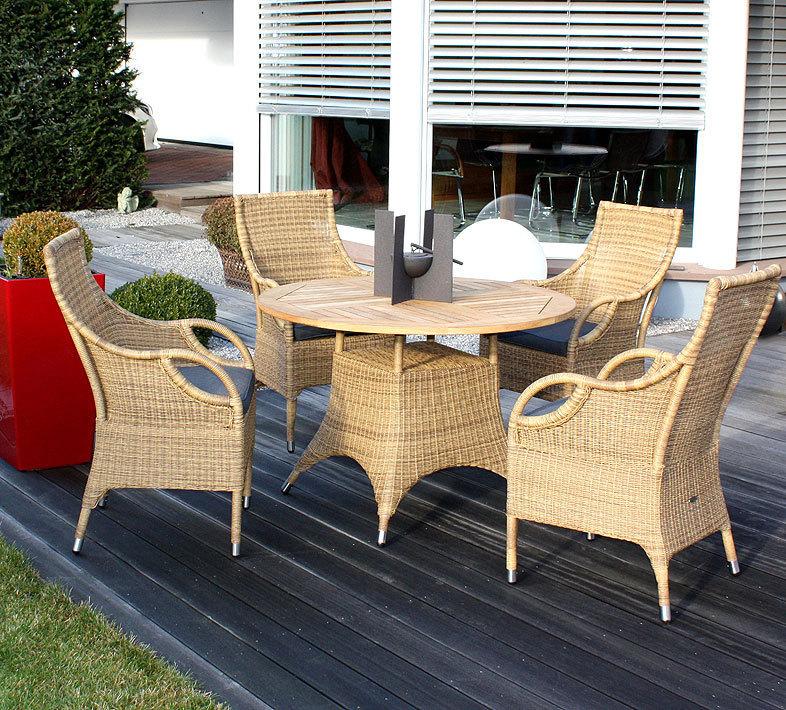 Zebra 5tlg-Set Polyrattan 4 Sessel + Teak Tisch 110cm rund Savannah honey  Garnitur - ohne Sitzkissen